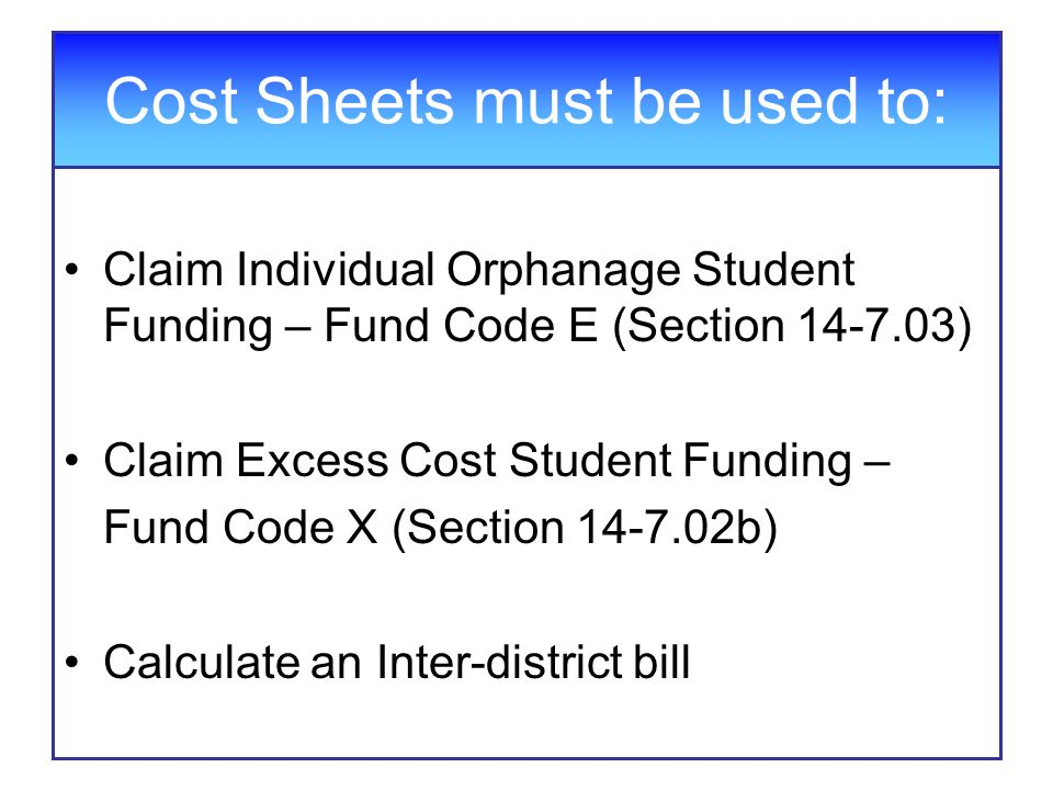 Cost Sheets must be used to: Claim Individual Orphanage Student Funding – Fund Code E (Section 14-7.03) Claim Excess Cost Student Funding – Fund Code