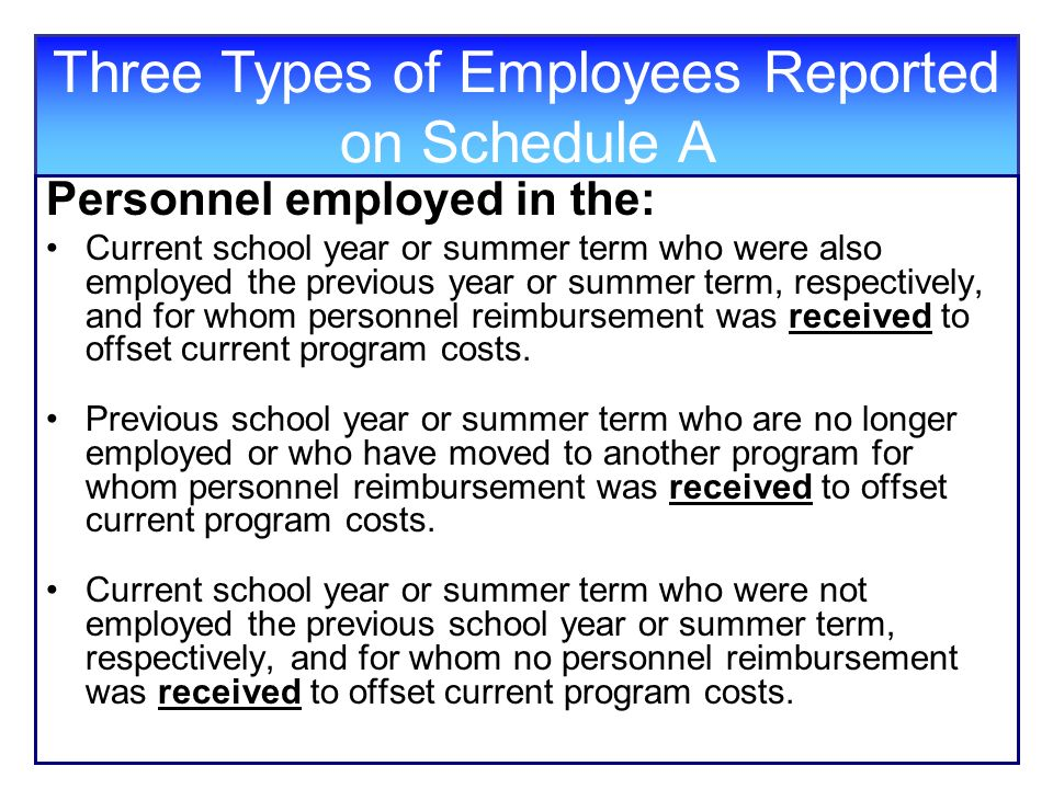Three Types of Employees Reported on Schedule A Personnel employed in the: Current school year or summer term who were also employed the previous year