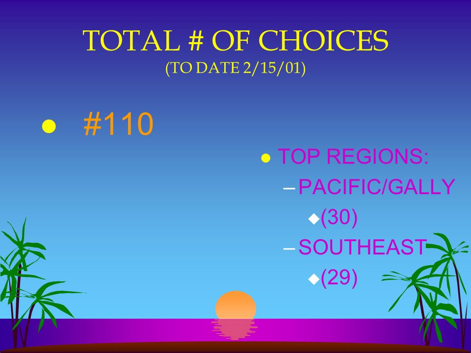 TOTAL # OF CHOICES (TO DATE 2/15/01) l #110 l TOP REGIONS: –PACIFIC/GALLY u (30) –SOUTHEAST u (29)