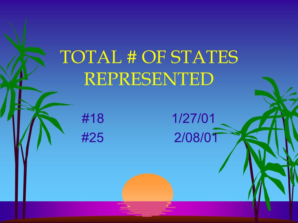 TOTAL # OF STATES REPRESENTED #18 1/27/01 #25 2/08/01
