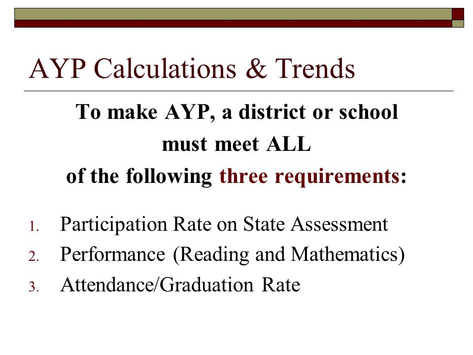 AYP Calculations & Trends To make AYP, a district or school must meet ALL of the following three requirements: 1.