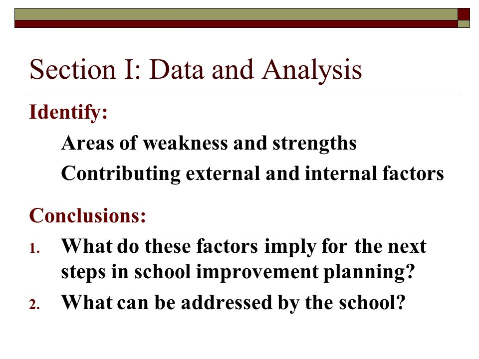 Section I: Data and Analysis Identify: Areas of weakness and strengths Contributing external and internal factors Conclusions: 1.