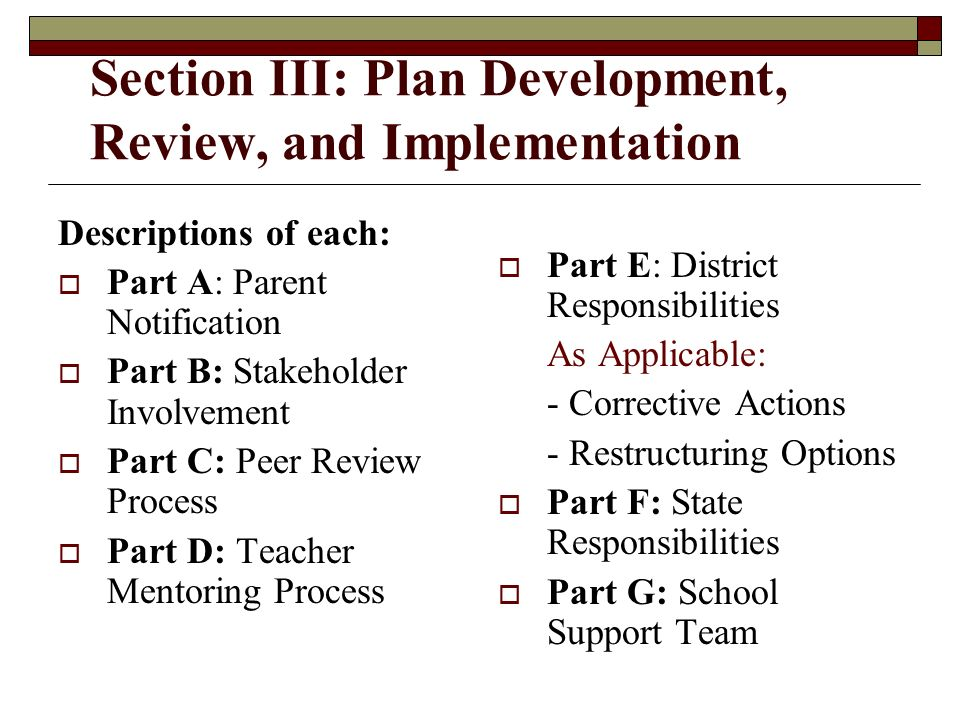 Section III: Plan Development, Review, and Implementation Descriptions of each: Part A: Parent Notification Part B: Stakeholder Involvement Part C: Peer Review Process Part D: Teacher Mentoring Process Part E: District Responsibilities As Applicable: - Corrective Actions - Restructuring Options Part F: State Responsibilities Part G: School Support Team