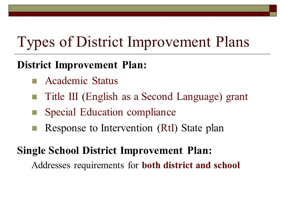 Types of District Improvement Plans District Improvement Plan: Academic Status Title III (English as a Second Language) grant Special Education compliance Response to Intervention (RtI) State plan Single School District Improvement Plan: Addresses requirements for both district and school