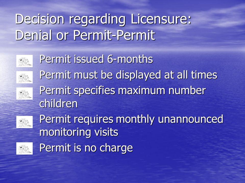 Decision regarding Licensure: Denial or Permit-Permit Permit issued 6-months Permit must be displayed at all times Permit must be displayed at all tim
