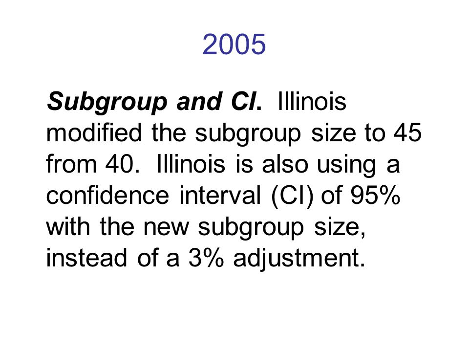 2005 Subgroup and CI. Illinois modified the subgroup size to 45 from 40.