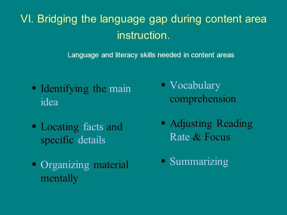 VI.Bridging the language gap during content area instruction.