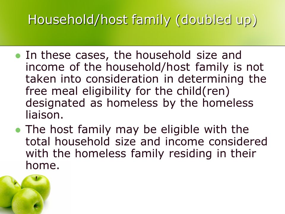 Household/host family (doubled up) In these cases, the household size and income of the household/host family is not taken into consideration in determining the free meal eligibility for the child(ren) designated as homeless by the homeless liaison.