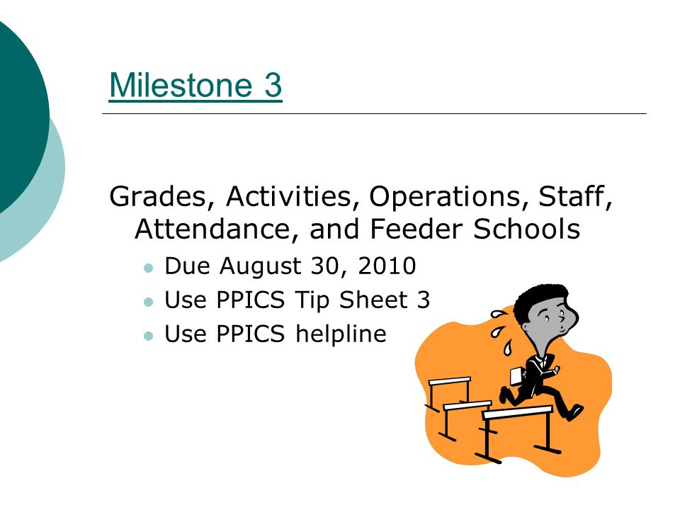 Milestone 4 Complete remainder of PPICS data State assessment data is essential Due October 29, 2010 Use Tip Sheet 4 Use PPICS helpline