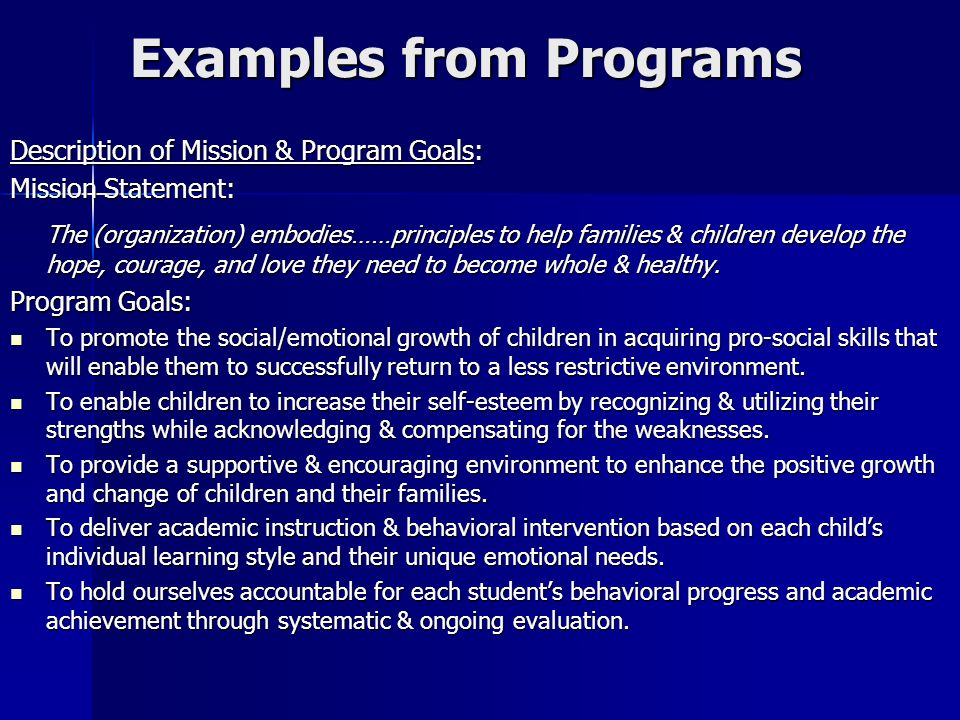 Examples from Programs Description of Mission & Program Goals: Mission Statement: The (organization) embodies……principles to help families & children develop the hope, courage, and love they need to become whole & healthy.