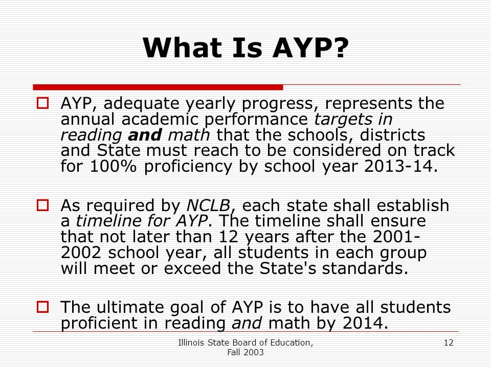 Illinois State Board of Education, Fall What Is AYP.