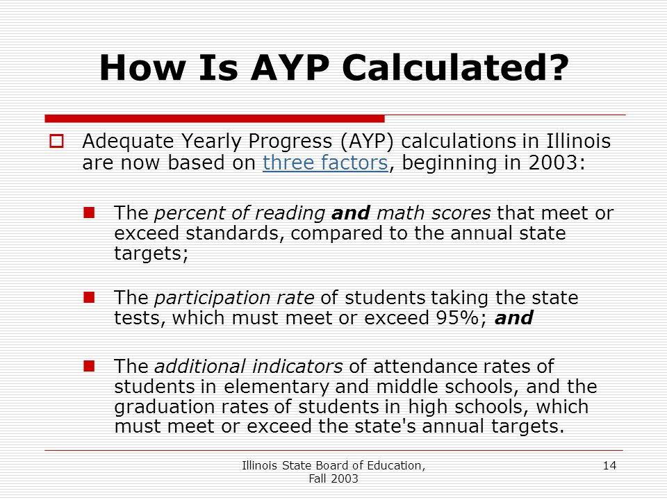 Illinois State Board of Education, Fall How Is AYP Calculated.