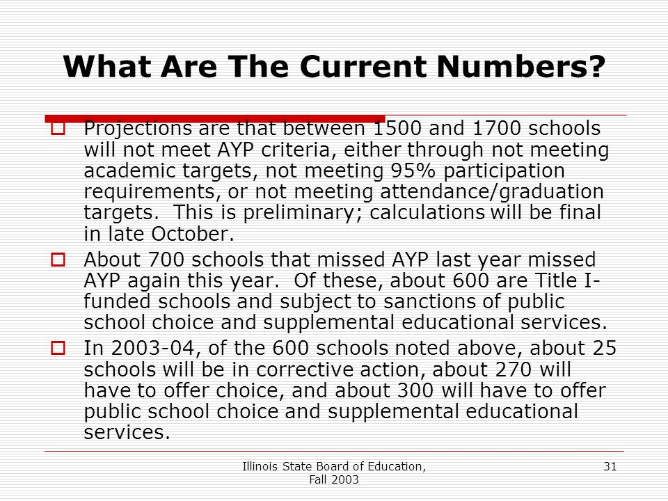 Illinois State Board of Education, Fall What Are The Current Numbers.