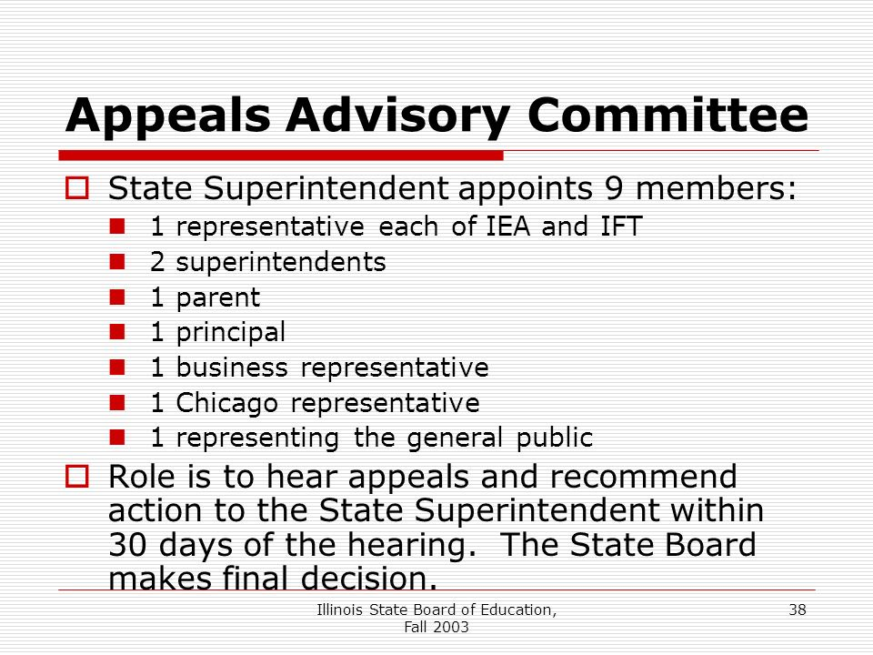 Illinois State Board of Education, Fall 2003 38 Appeals Advisory Committee State Superintendent appoints 9 members: 1 representative each of IEA and IFT 2 superintendents 1 parent 1 principal 1 business representative 1 Chicago representative 1 representing the general public Role is to hear appeals and recommend action to the State Superintendent within 30 days of the hearing.