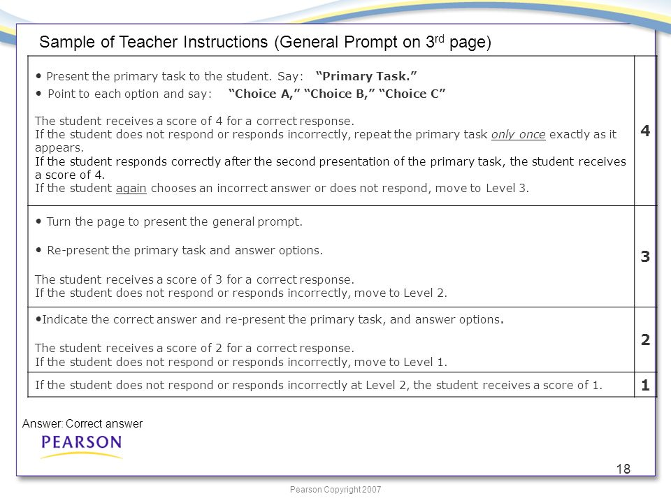 Pearson Copyright 2007 18 Present the primary task to the student.