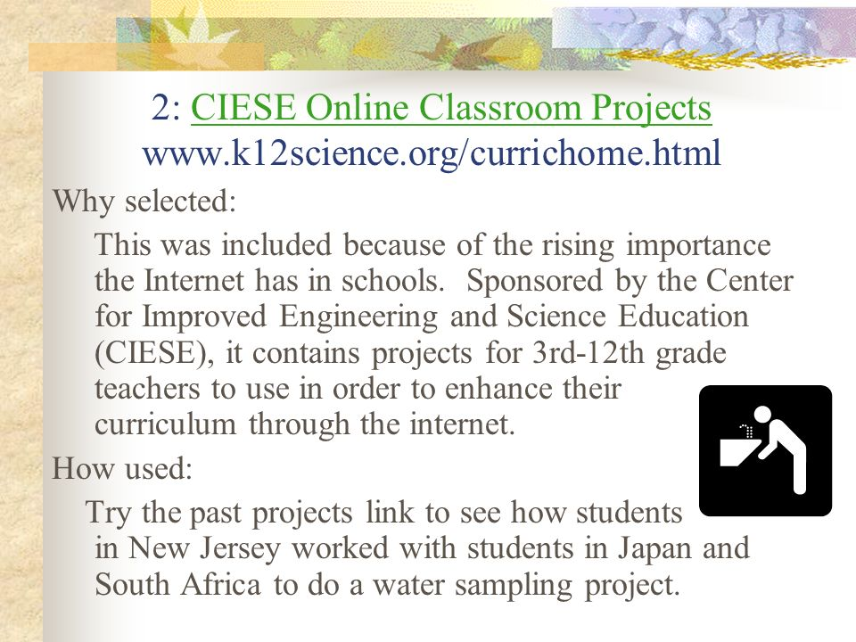 Online Class, Cont. How used: It is our hope that teachers will use this site to improve the usage of the Internet in their classrooms. Try the teache