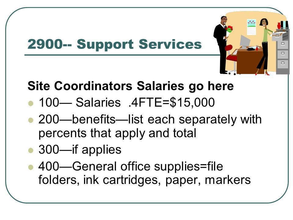 Support Services Site Coordinators Salaries go here 100 Salaries.4FTE=$15, benefitslist each separately with percents that apply and total 300if applies 400General office supplies=file folders, ink cartridges, paper, markers