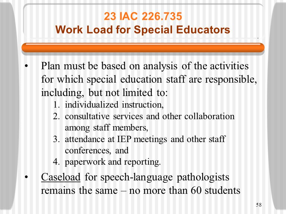 58 23 IAC 226.735 Work Load for Special Educators Plan must be based on analysis of the activities for which special education staff are responsible,