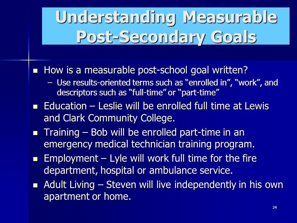 24 Understanding Measurable Post-Secondary Goals How is a measurable post-school goal written? How is a measurable post-school goal written? –Use resu