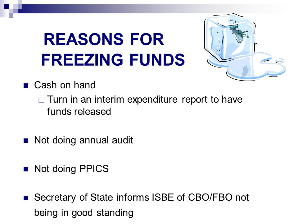 REASONS FOR FREEZING FUNDS Cash on hand Turn in an interim expenditure report to have funds released Not doing annual audit Not doing PPICS Secretary of State informs ISBE of CBO/FBO not being in good standing