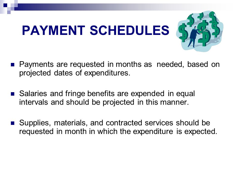 PAYMENT SCHEDULES Payments are requested in months as needed, based on projected dates of expenditures.