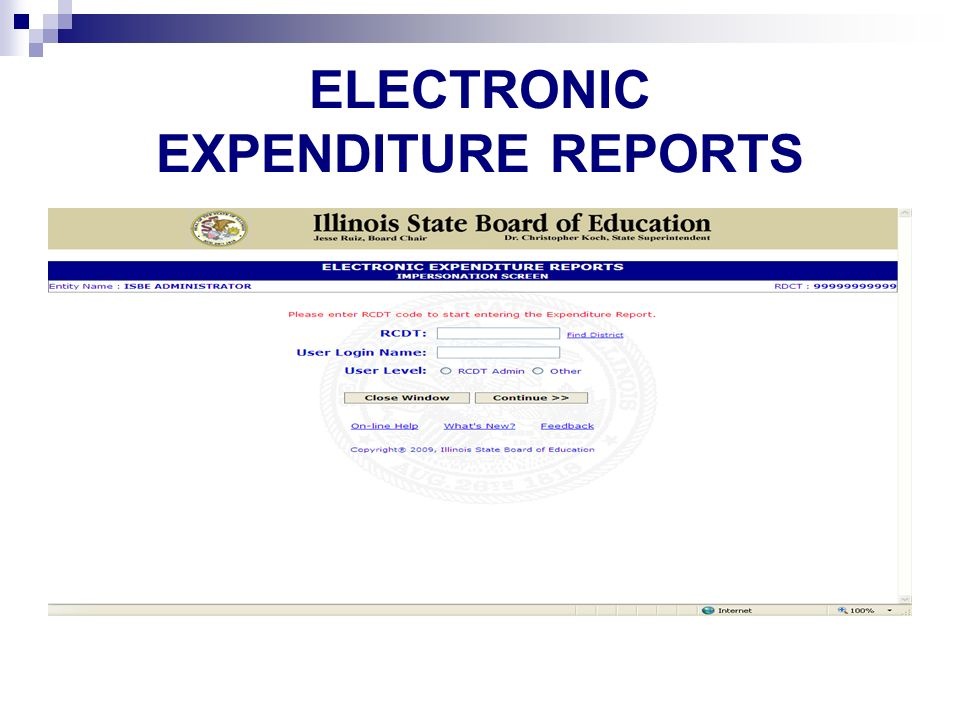 ELECTRONIC EXPENDITURE REPORTS