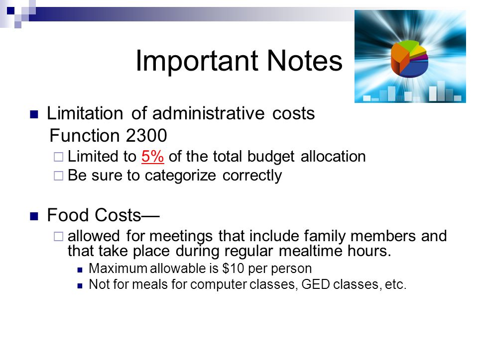 Important Notes Limitation of administrative costs Function 2300 Limited to 5% of the total budget allocation Be sure to categorize correctly Food Costs allowed for meetings that include family members and that take place during regular mealtime hours.