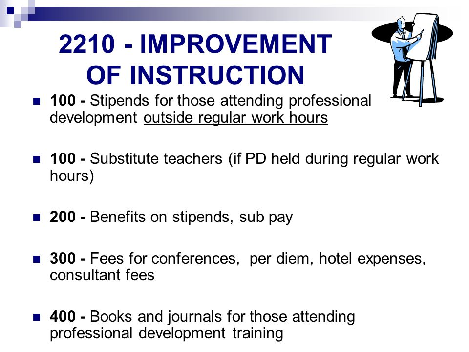 IMPROVEMENT OF INSTRUCTION Stipends for those attending professional development outside regular work hours Substitute teachers (if PD held during regular work hours) Benefits on stipends, sub pay Fees for conferences, per diem, hotel expenses, consultant fees Books and journals for those attending professional development training