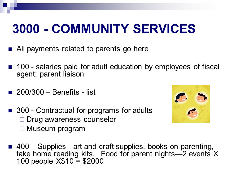 COMMUNITY SERVICES All payments related to parents go here salaries paid for adult education by employees of fiscal agent; parent liaison 200/300 – Benefits - list Contractual for programs for adults Drug awareness counselor Museum program 400 – Supplies - art and craft supplies, books on parenting, take home reading kits.