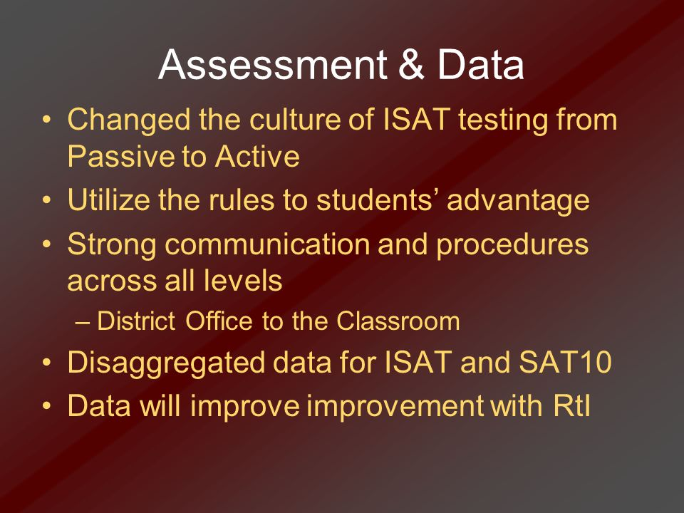 Assessment & Data Changed the culture of ISAT testing from Passive to Active Utilize the rules to students advantage Strong communication and procedur