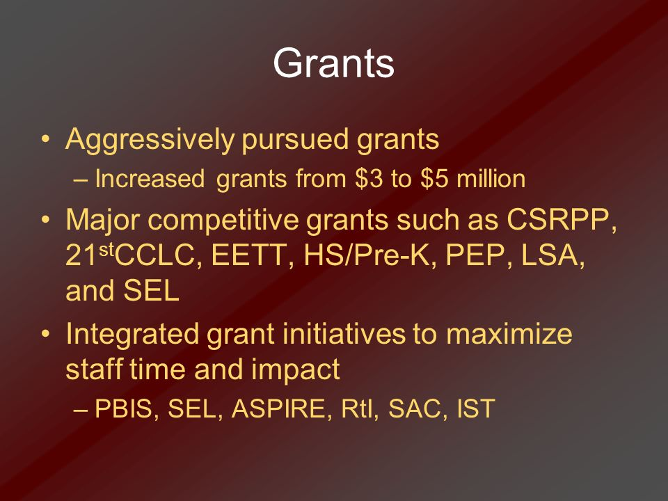 Grants Aggressively pursued grants –Increased grants from $3 to $5 million Major competitive grants such as CSRPP, 21 st CCLC, EETT, HS/Pre-K, PEP, LS
