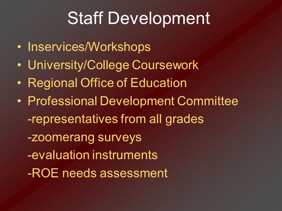 Staff Development Inservices/Workshops University/College Coursework Regional Office of Education Professional Development Committee -representatives