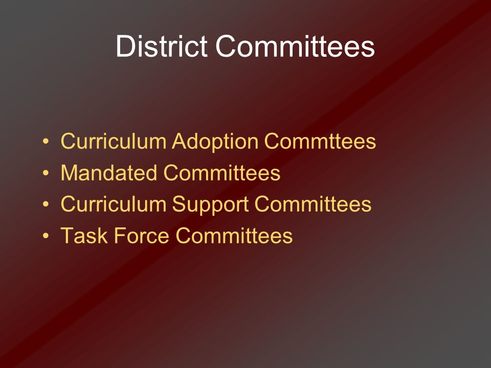 District Committees Curriculum Adoption Commttees Mandated Committees Curriculum Support Committees Task Force Committees