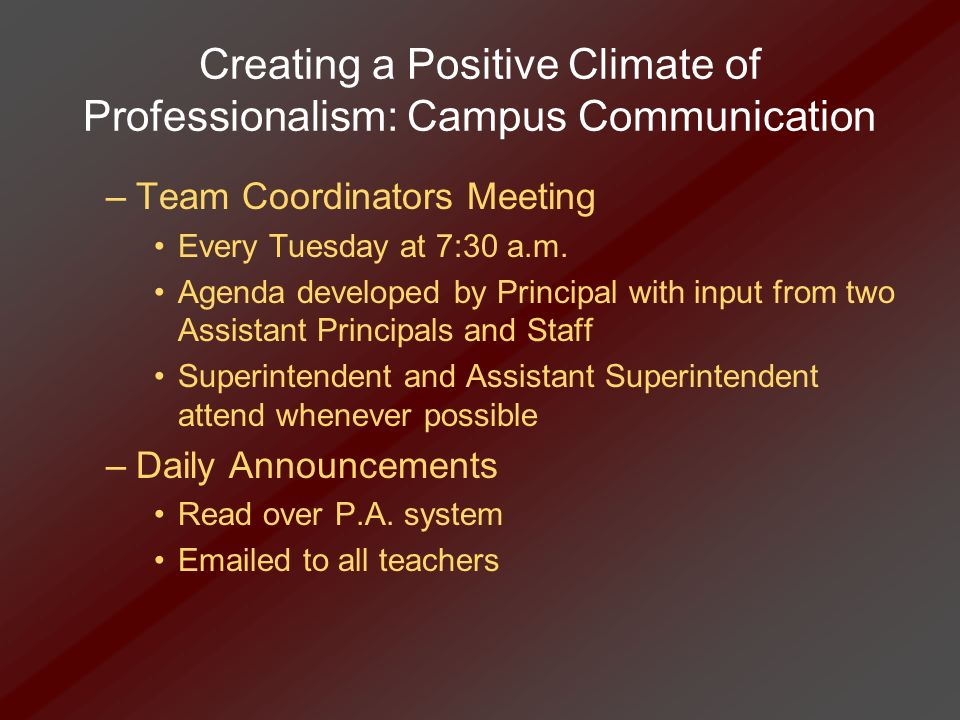 Creating a Positive Climate of Professionalism: Campus Communication –Team Coordinators Meeting Every Tuesday at 7:30 a.m. Agenda developed by Princip
