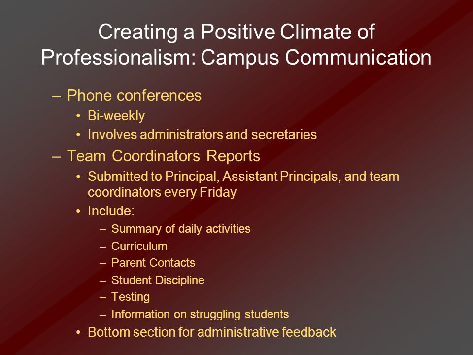 Creating a Positive Climate of Professionalism: Campus Communication –Phone conferences Bi-weekly Involves administrators and secretaries –Team Coordi