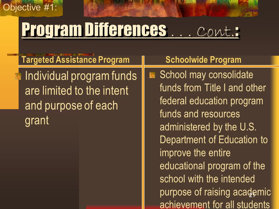 Program Differences... Cont. : Targeted Assistance Program Individual program funds are limited to the intent and purpose of each grant Schoolwide Pro