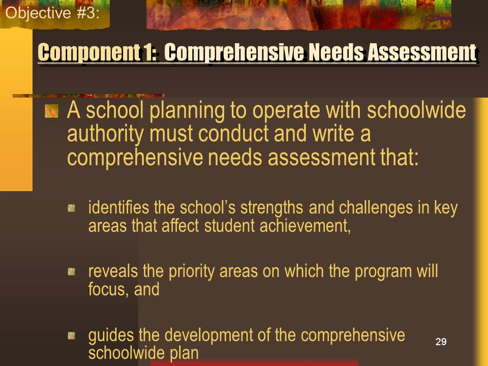 Component 1: Comprehensive Needs Assessment A school planning to operate with schoolwide authority must conduct and write a comprehensive needs assess