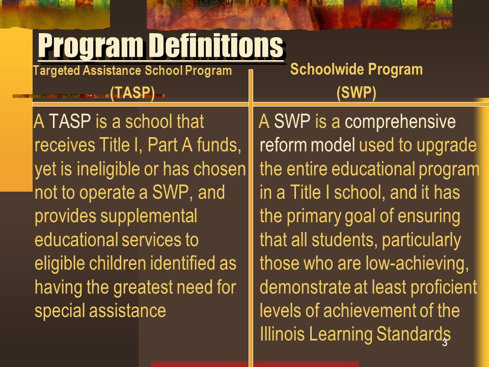 Program Definitions Targeted Assistance School Program (TASP) A TASP is a school that receives Title I, Part A funds, yet is ineligible or has chosen