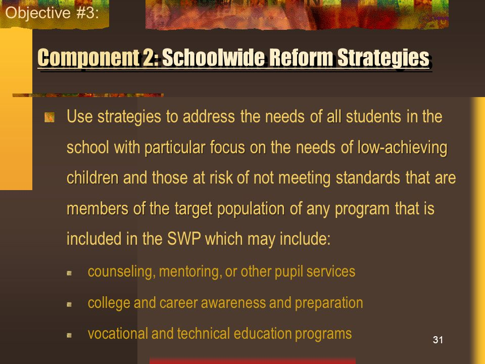 Component 2: Schoolwide Reform Strategies all particular focus on low-achieving children members of the target population Use strategies to address th
