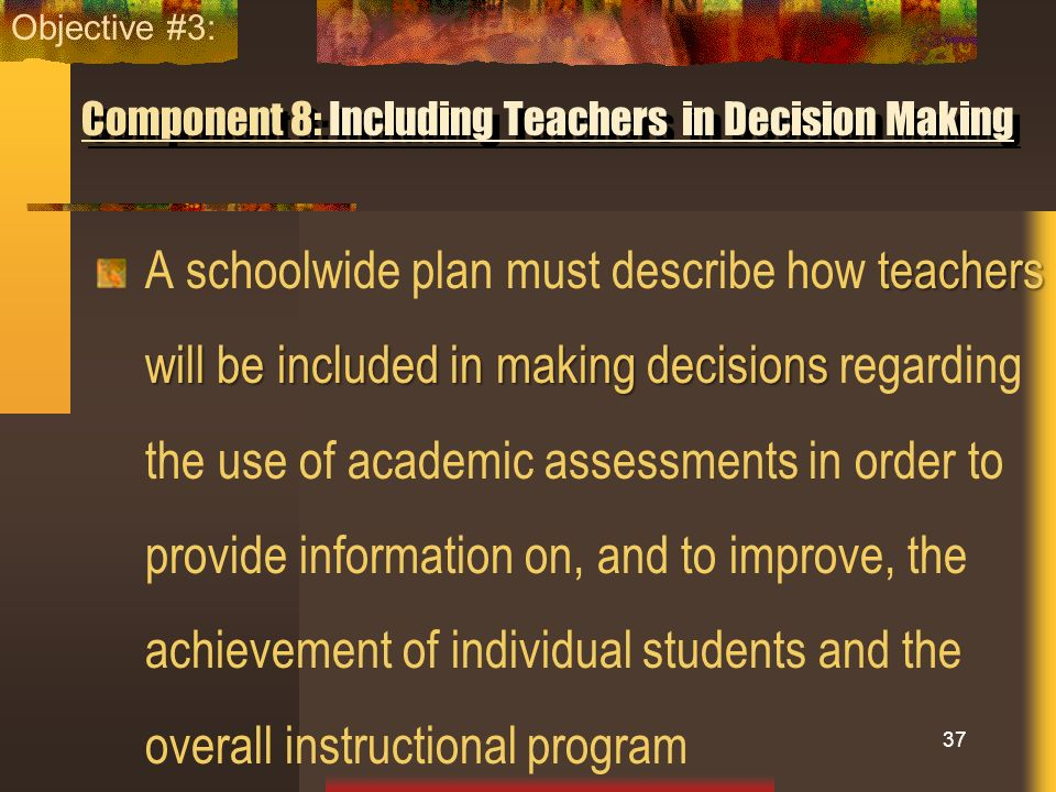 Component 8: Including Teachers in Decision Making teachers will be included in making decisions A schoolwide plan must describe how teachers will be