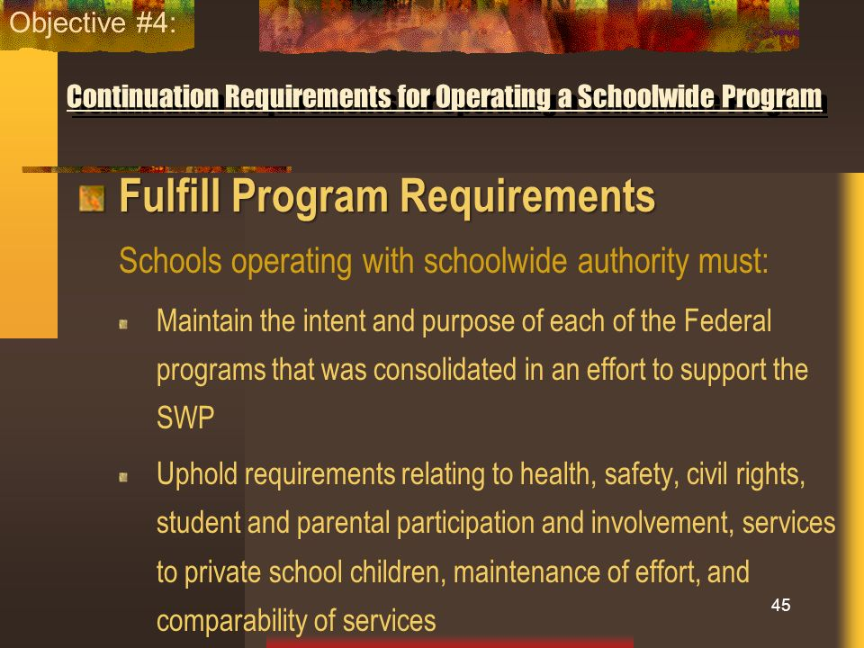 Continuation Requirements for Operating a Schoolwide Program Fulfill Program Requirements Schools operating with schoolwide authority must: Maintain t