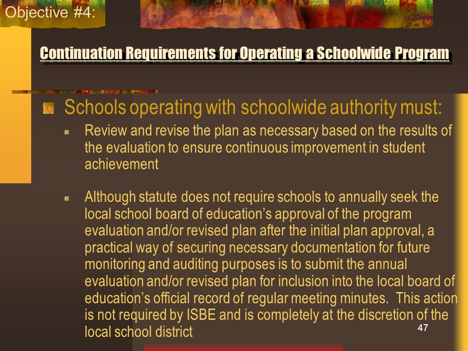 Continuation Requirements for Operating a Schoolwide Program Schools operating with schoolwide authority must: Review and revise the plan as necessary