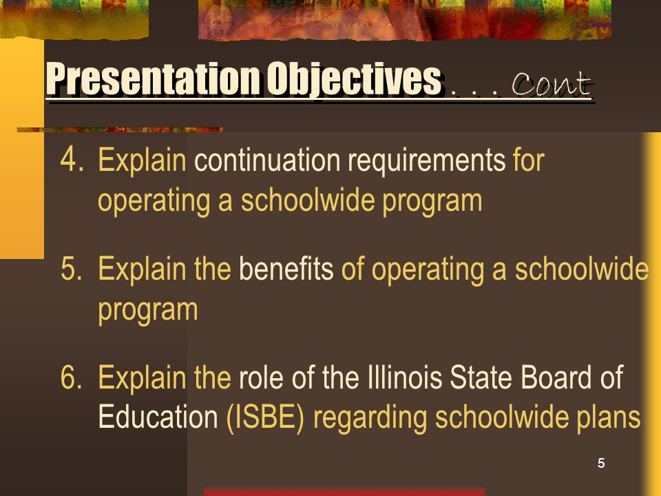 4. Explain continuation requirements for operating a schoolwide program 5.Explain the benefits of operating a schoolwide program 6.Explain the role of
