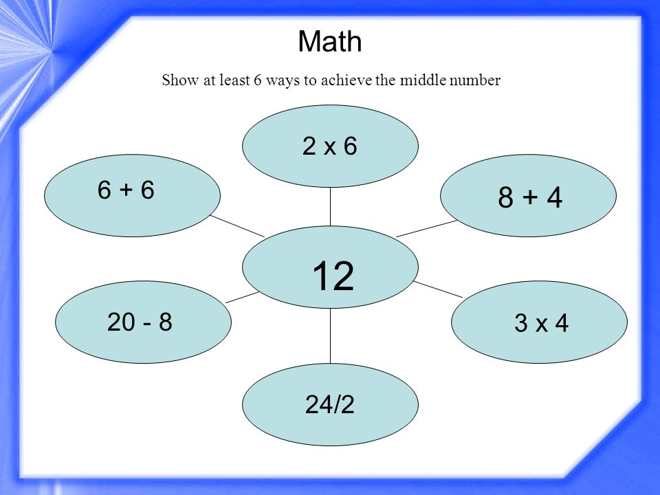 Math 12 2 x 6 6 + 6 20 - 8 8 + 4 3 x 4 24/2 Show at least 6 ways to achieve the middle number