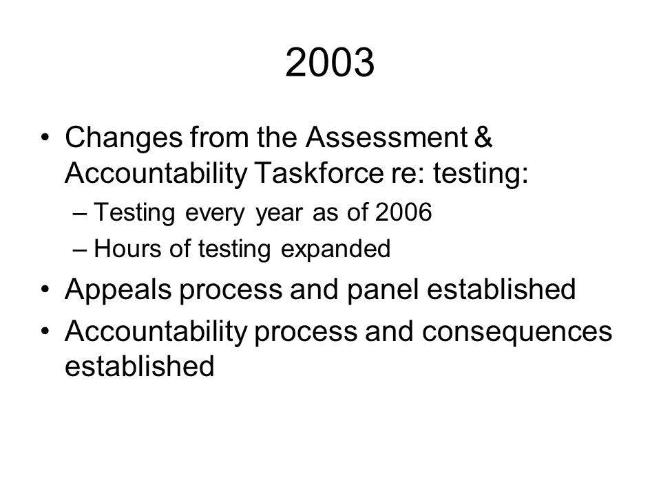 2003 Changes from the Assessment & Accountability Taskforce re: testing: –Testing every year as of 2006 –Hours of testing expanded Appeals process and
