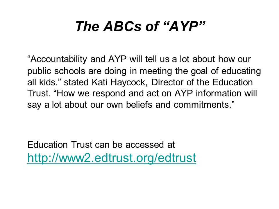The ABCs of AYP Accountability and AYP will tell us a lot about how our public schools are doing in meeting the goal of educating all kids. stated Kat