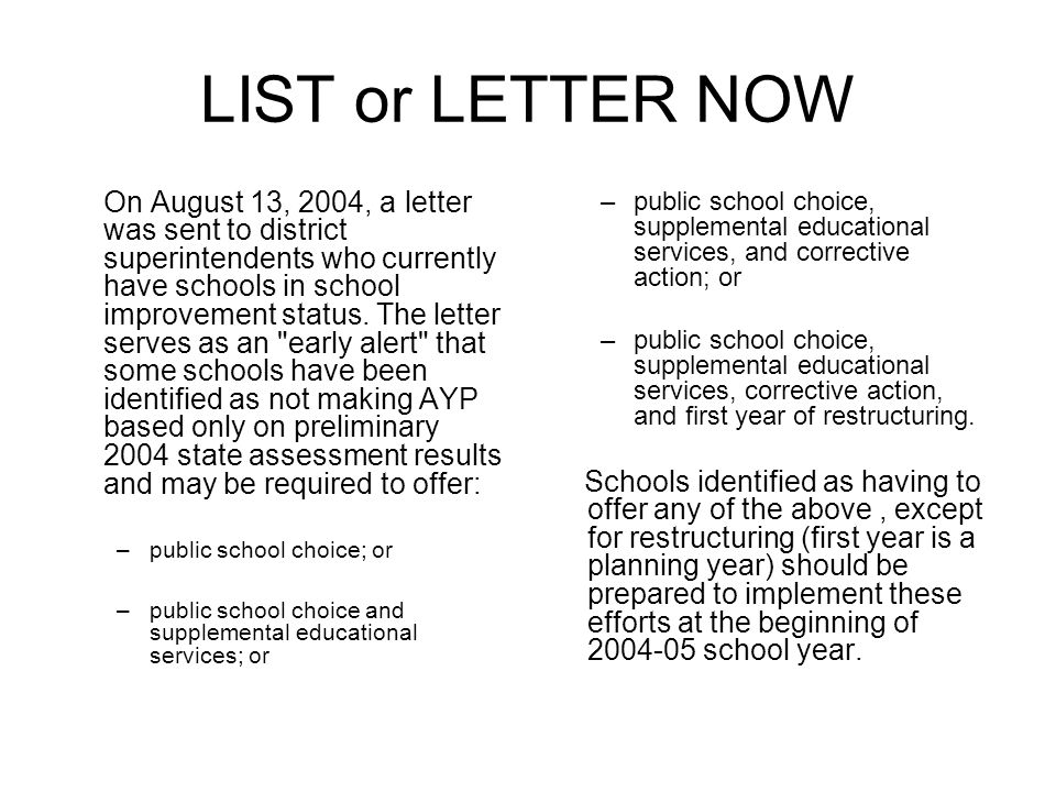 LIST or LETTER NOW On August 13, 2004, a letter was sent to district superintendents who currently have schools in school improvement status. The lett