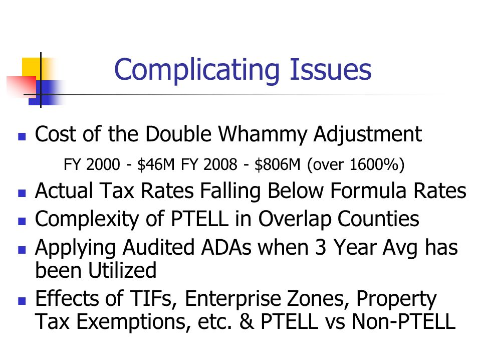 Complicating Issues Cost of the Double Whammy Adjustment FY 2000 - $46M FY 2008 - $806M (over 1600%) Actual Tax Rates Falling Below Formula Rates Comp