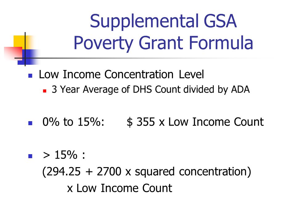 Supplemental GSA Poverty Grant Formula Low Income Concentration Level 3 Year Average of DHS Count divided by ADA 0% to 15%: $ 355 x Low Income Count >