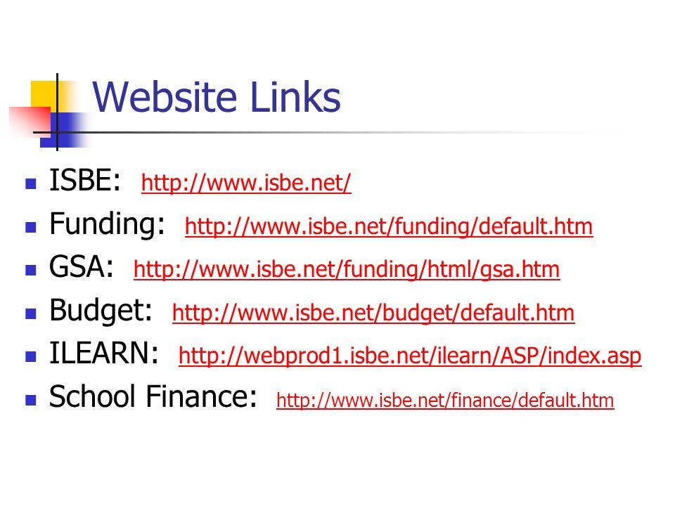 Website Links ISBE: http://www.isbe.net/ http://www.isbe.net/ Funding: http://www.isbe.net/funding/default.htm http://www.isbe.net/funding/default.htm